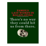 Palabras pasadas famosas en el Roleplaying: Golpe Postal