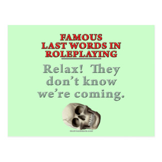 Palabras pasadas famosas en el Roleplaying Sepa Tarjetas Postales