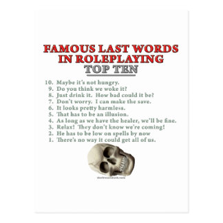 Palabras pasadas famosas en el Roleplaying: Top Tarjetas Postales