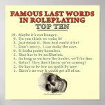 Palabras pasadas famosas en el Roleplaying: Top Te Poster