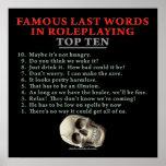 Palabras pasadas famosas en el Roleplaying: Top Te Impresiones