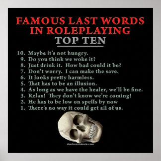 Palabras pasadas famosas en el Roleplaying: Top Te Póster