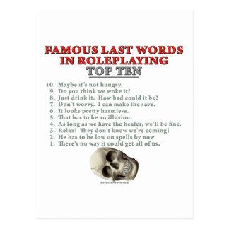 Palabras pasadas famosas en el Roleplaying: Top Te Postales