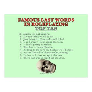 Palabras pasadas famosas en el Roleplaying: Top Te Postal