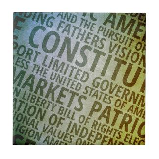 Palabras patrióticas de América Azulejo Cuadrado Pequeño