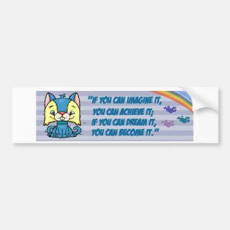 palabras posetive del gato azul pegatina para auto
