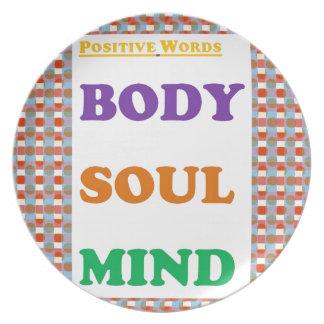 Palabras positivas Meditación de la yoga de la me Platos