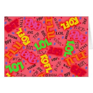 Palabras rojas de los símbolos del arte del texto tarjeta de felicitación