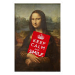 Palabras sabias de Mona Lisa: Guarde la calma y Póster