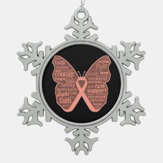 Palabras uterinas de la mariposa del cáncer de la adorno de peltre en forma de copo de nieve