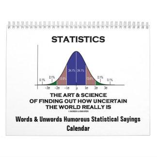 Palabras y refranes estadísticos chistosos de calendario de pared