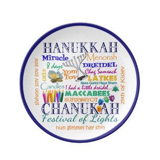 Palabras y símbolos de Chanukah Plato De Cerámica