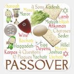 Palabras y símbolos del Passover Pegatina Cuadradas Personalizadas