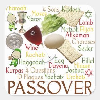 Palabras y símbolos del Passover Pegatina Cuadrada