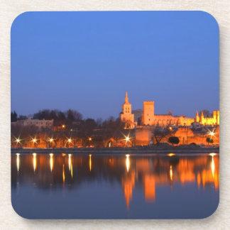 Palace de papa en Aviñón y el río Rhone en Posavasos De Bebida