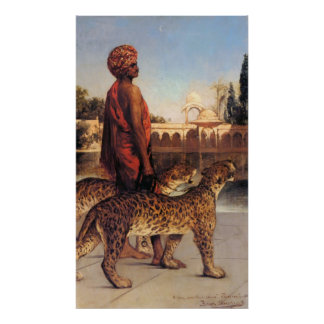 Palace Guard with Two Leopards Benjamin Constant Poster