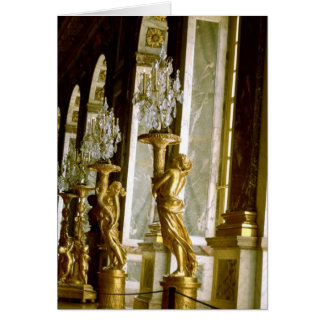 Palace of versailles Hall of mirrors Golden statue Card