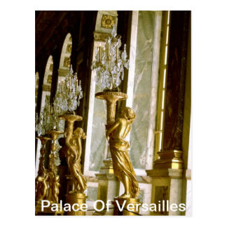 Palace of versailles Hall of mirrors Golden statue Postcard