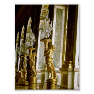 Palace of versailles Hall of mirrors Golden statue Poster