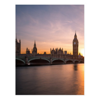 Palace of Westminster in London at Sunset Postcard