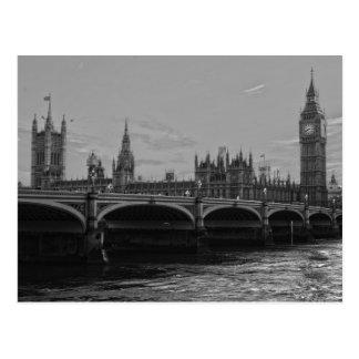 Palacio blanco negro de la torre de Big Ben de Postal