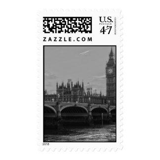 Palacio blanco negro de la torre de Big Ben de Sello Postal
