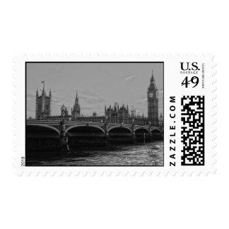 Palacio blanco negro de la torre de Big Ben de Timbres Postales
