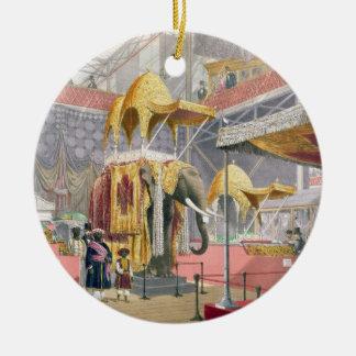 Palacio cristalino, la corte india, pub. por adorno navideño redondo de cerámica