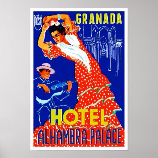 Palacio de Alhambra del hotel de Granada Poster