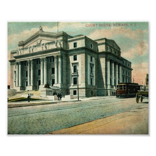 Palacio de Justicia 1908, vintage de Newark, New J Póster