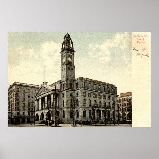Palacio de Justicia, cantón Ohio, vintage 1910 Impresiones