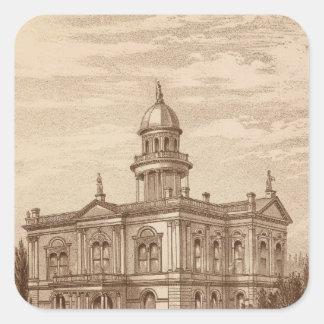 Palacio de Justicia del condado de Tulare Pegatina Cuadrada