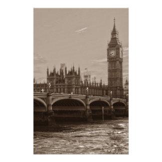 Palacio de la torre de Big Ben de la sepia de Papeleria De Diseño