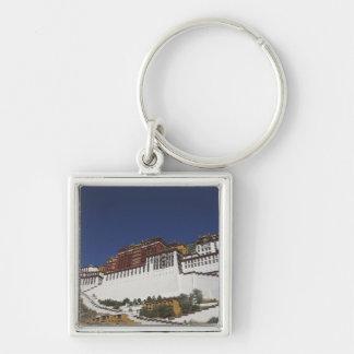Palacio de Potal en Lasa, Tíbet Llavero Cuadrado Plateado