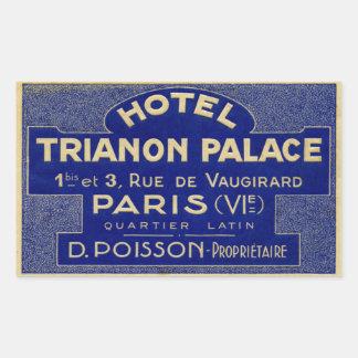 Palacio de Trianon del hotel (París Francia) Rectangular Pegatina