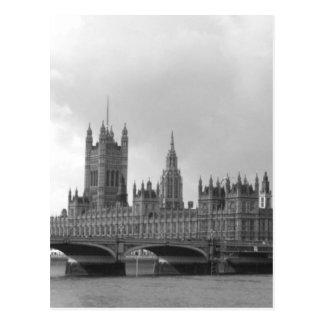Palacio negro y blanco de Westminster Postal