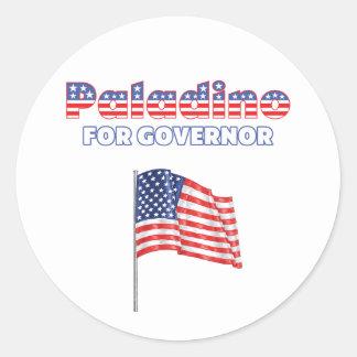 Paladino para la bandera americana patriótica del pegatina redonda