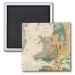 Palaeontological map British Islands 2 Inch Square Magnet