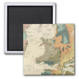 Palaeontological map British Islands 2 Inch Square Magnet