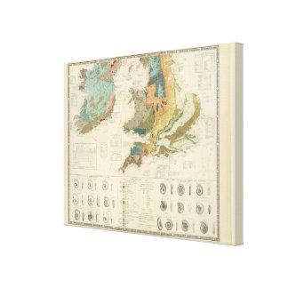 Palaeontological map British Islands Canvas Print
