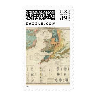 Palaeontological map British Islands Postage Stamp
