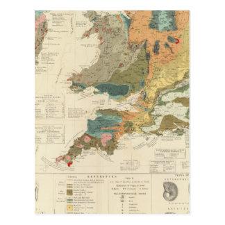 Palaeontological map British Islands Postcard