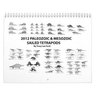 Palaeozoic 2012 y Tetrapods navegado mesozoico Calendarios De Pared