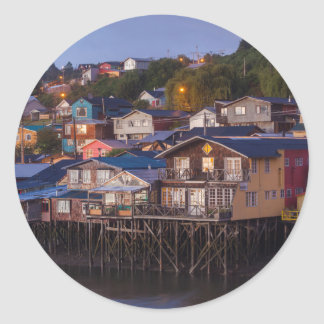 Palafito stilt houses, elevated view classic round sticker