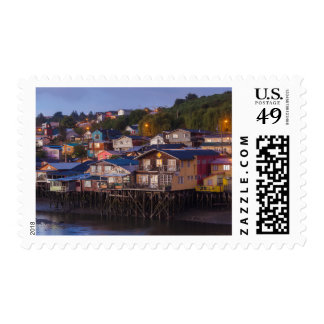 Palafito stilt houses, elevated view postage