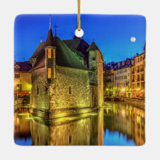 Palais de l'Ile jail and canal in Annecy old city, Ceramic Ornament