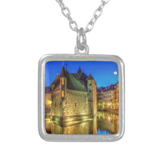 Palais de l'Ile jail and canal in Annecy old city, Silver Plated Necklace