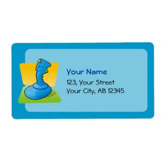 Palanca de mando azul etiquetas de envío