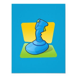 "Palanca de mando azul invitación 4.25"" x 5.5"""