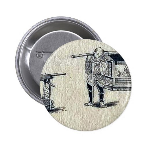 Palanquins with porters Ukiyo-e. Pinback Buttons